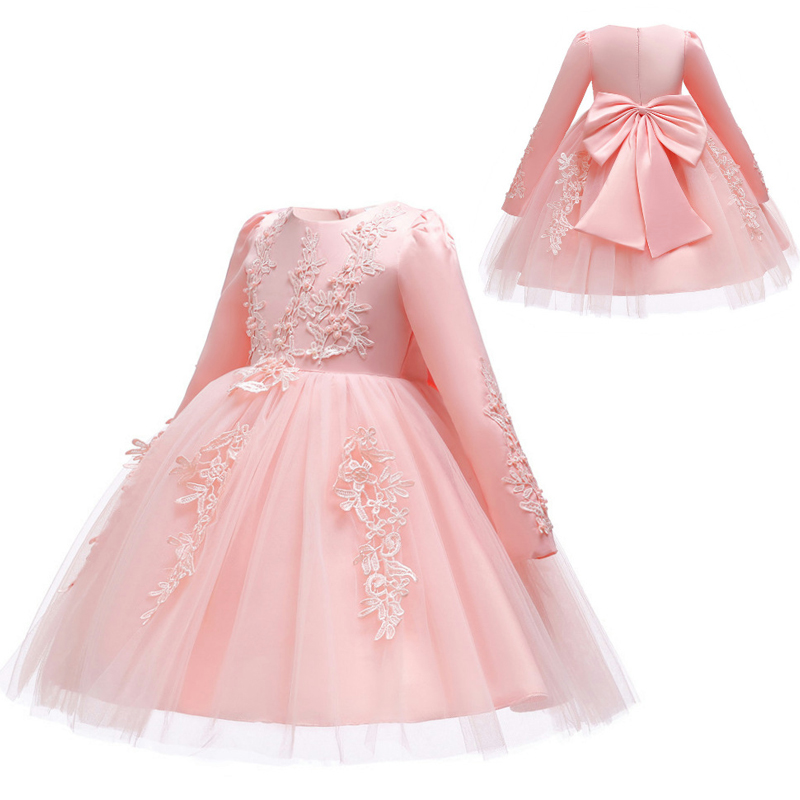 2019 Spring   Flower     Girls     Dress   Party Wedding   Dress   Long Sleeve Clothes Tutu Princess Kids   Dresses   For   Girls   Clothing 10 12 Years