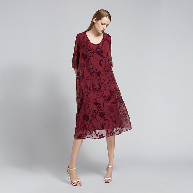 Summer Dress 2017 Plus Size Womens Embossed Elegant Beach Casual