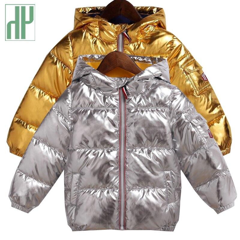 HH Enfants veste d'hiver pour enfants fille argent or Garçons À Capuchon Occasionnel Manteau Bébé Vêtements Outwear enfants Parka Veste habineige