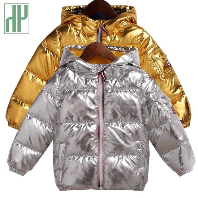 HH/детская зимняя куртка для девочек, серебристо-Золотое повседневное пальто с капюшоном для мальчиков, одежда для малышей, верхняя одежда, детская парка, куртка, зимний комбинезон