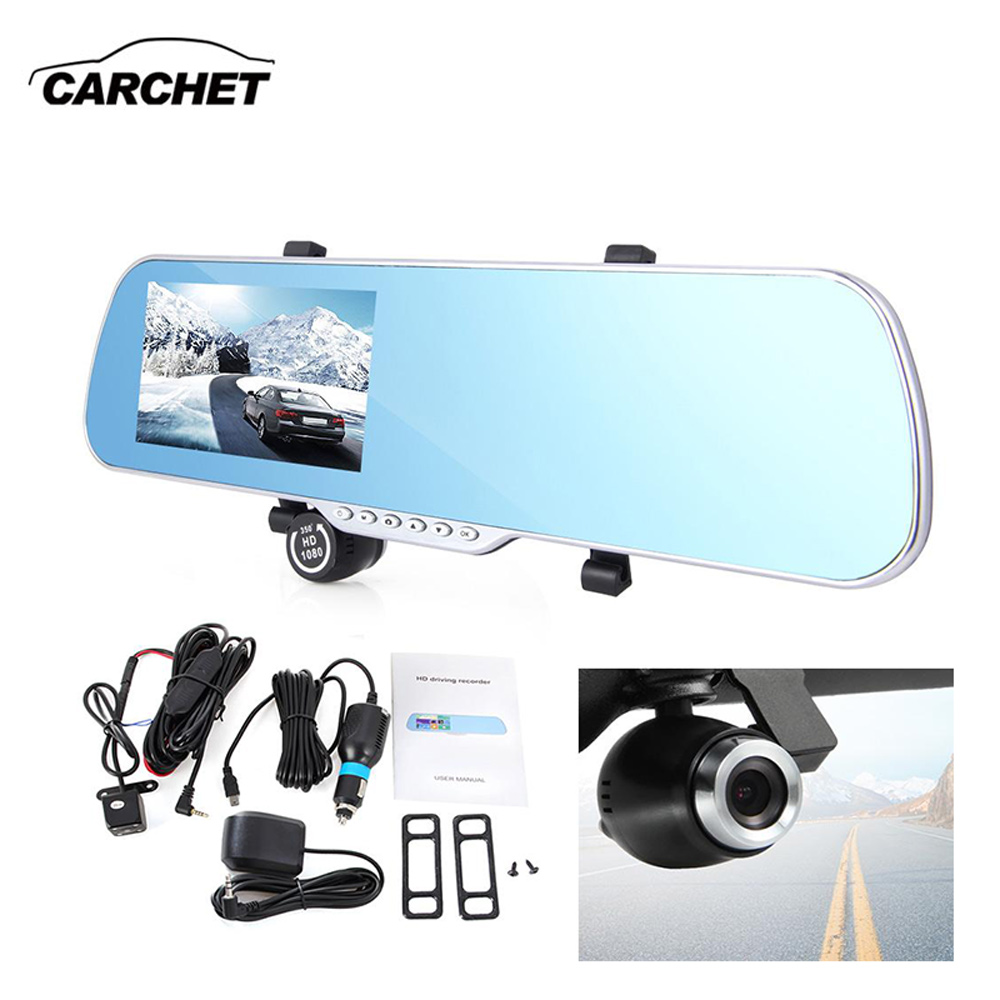 CARCHET Car GPS Navigation Rearview Mirror DVR Camera Parking Video Recorder 5 Full HD Touchscreen Dual Lens For Android System e ace car dvr android touch gps navigation rearview mirror bluetooth fm dual lens wifi dash cam full hd 1080p video recorder