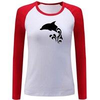 IDzn Harajuku Raglan Sleeve Women's Funny T Shirt Kawaii Dolphin in the Water Pattern Long Sleeve T-shirt Lady Girl Basic Tops