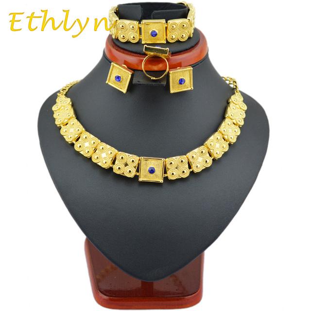 Ethlyn Eritrean ouro conjuntos de jóias 22 k banhado a Ouro cadeia/pulseira/anel/brinco conjuntos de jóias para a Etiópia & Mulheres da eritreia