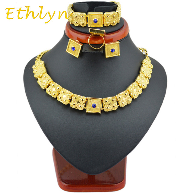 Ethlyn gold Eritrean  jewelry sets 22k  Gold plated chain/bracelet/ring/earring jewelry sets  for  Ethiopian & Eritrean  Women