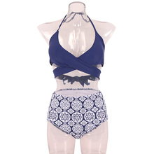 Women Bikini Bandage Halter Criss Cross High Waist Floral