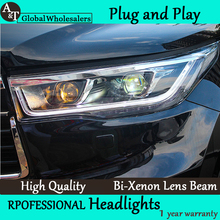 A&T Car Styling for 2014-2015 New Toyota Highlander LED Headlight New Kluger LED drl Lens Double Beam H7 HID Xenon
