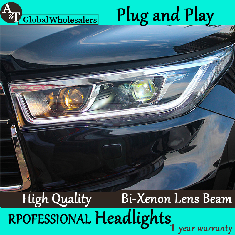 Car Styling for 2014 2015 New Toyota Highlander LED Headlight New Kluger LED drl Lens Double