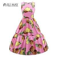 JLI MAY Pineapple print summer Dress Ruffles 50s O-Neck Ball Gown Sleeveless pink white plus size women party Cute Vintage dress