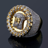 2018 New Arrival Hip Hop Men Ring Copper Gold Color Micro Paved Aaa Cz Stone Pharaoh Round Rings With 8/9/10/11/12