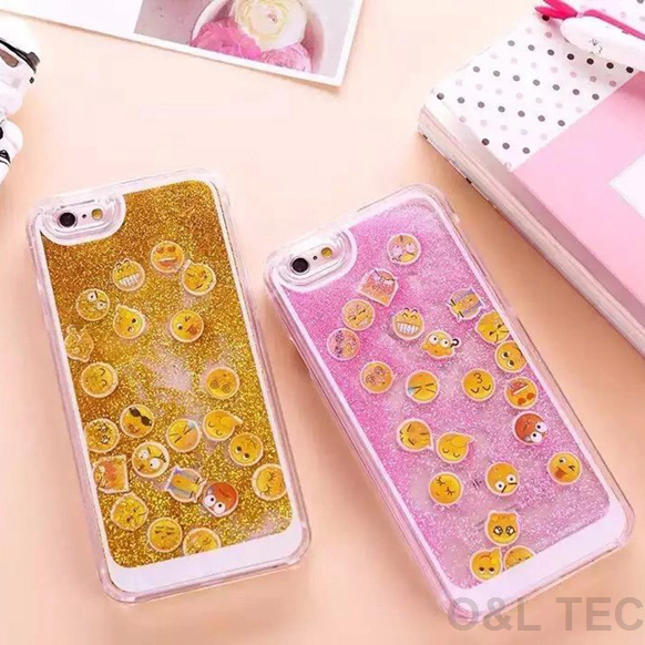 2016 Latest Dynamic QQ Emoji Phone Case For IPhone 6 6s Plus Hard PC Glitter Quicksand Back Cover Emoticons Smilies On Aliexpress