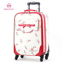 Universal wheels trolley luggage travel bag small bags female 16 luggage pull box 20 24suitcase,lovely smart trolley luggage
