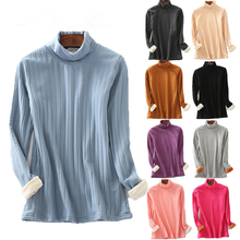 New Tee Shirt Femme Flannel Thick Warm Turtleneck Tshirt Women 2019 Casual Long Sleeve Winter Tops Plus Size T D131