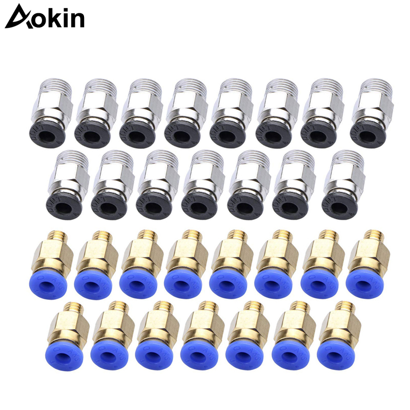PC4-M10 Straight Pneumatic Fitting Push to Connect + PC4-M6 Quick in Fitting for 3D Printer Bowden Extruder 20pcs/lot