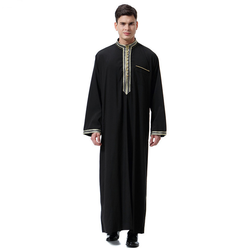 d87b0945e0 US $14.9 50% OFF|Arab Clothing Men Long Jubba Thobe Muslim Abaya Dubai  Kaftan Plus Size 2018 New Robe for Men-in Islamic Clothing from Novelty &  ...