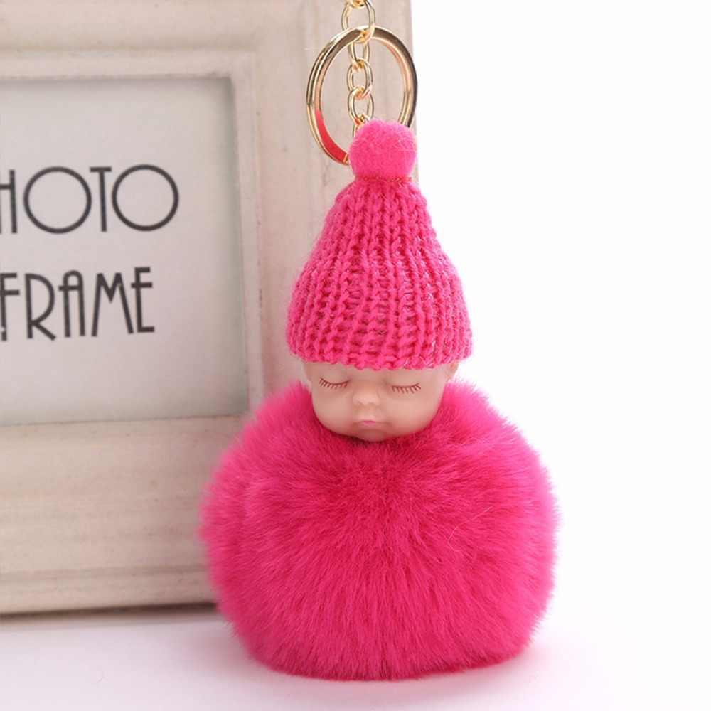 JAVRICK 15 Cor Tendência Quente Bebê Dormindo Boneca Chaveiro Sacos Pingente de Chave Presentes Anel de Pele de Coelho Do Falso Novo 2018