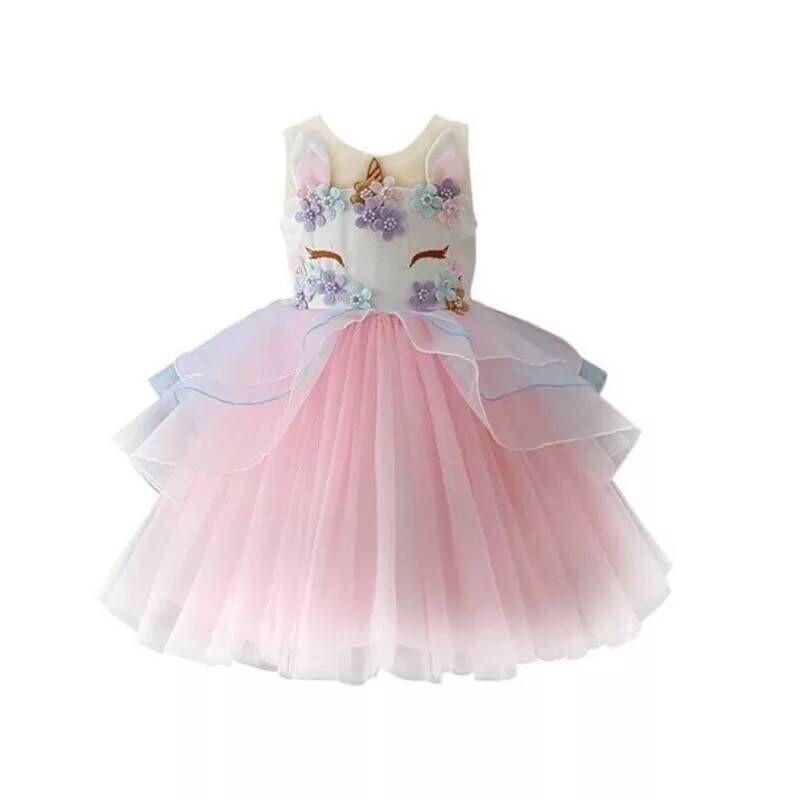 Tonlinker Lányok Dress 2018 Új Unicorn Hímzés Beading Princess - Jelmezek
