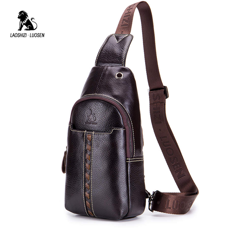 LAOSHIZI LUOSEN Crossbody Bags for Men Messenger Bag Genuine Leather Chest Pack Casual Waterproof Single Shoulder Strap 2018 New