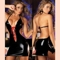 High Quality Sexy PVC Halter Backless Club Dress Black Exotic Apparel Cheap Fashion Vinyl Leather Dress
