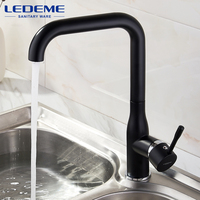 LEDEME Spray Paint Swivel Kitchen Faucet Zinc Material Cozinha Torneira Deck Mounted Single Hole Faucets Mixer