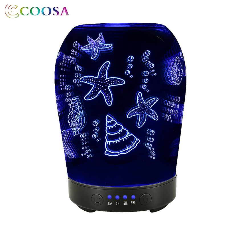 COOSA Beautiful 3D Glass Jellyfish Pattern Air Humidifier 100ml Aroma Diffuser 7 LED Color Changing Cool Mist Maker for Bedroom in Humidifiers from Home Appliances