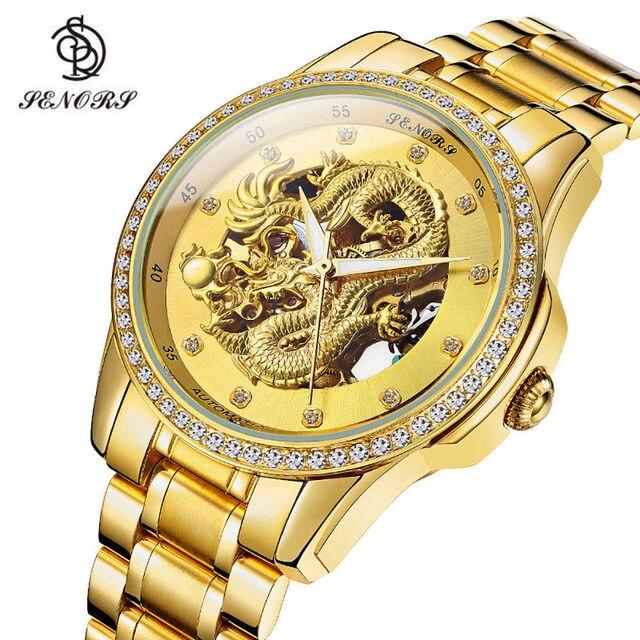 0ef7b9bba21 SENORS Novo Dragão de Ouro de Luxo da marca Homens Relógio Corrente do Relógio  Mecânico Automático