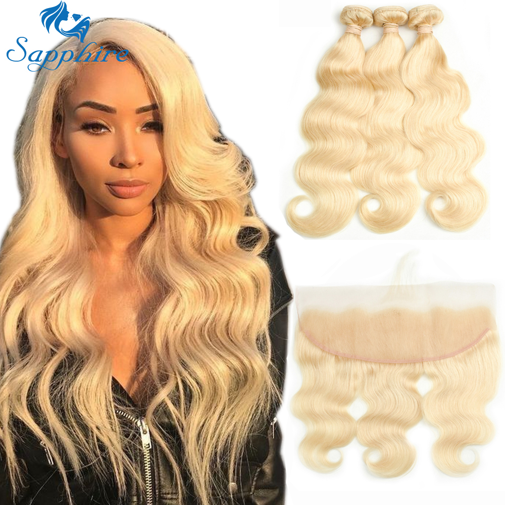Sapphire Brazilian Hair Weave Bundles 613 Bundles With Frontal 3PCS Blonde Bundles With Closure Lace Frontal Remy Hair Extension
