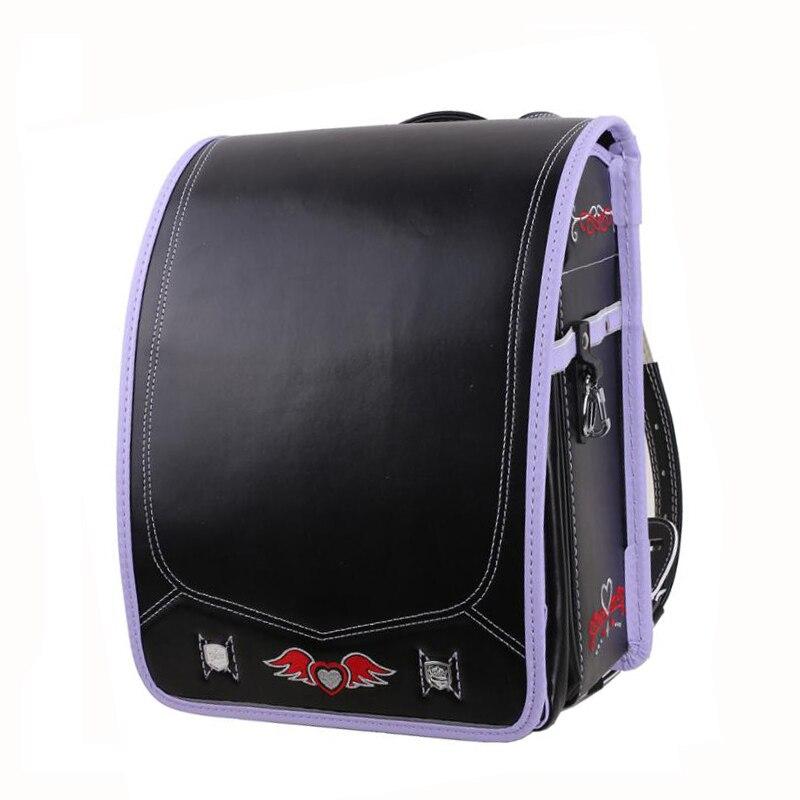 High quality waterproof PU Kid Backpack For Boys and Girl School Bag Embroidery love wings Hasp Randoseru Orthopedic backpacks
