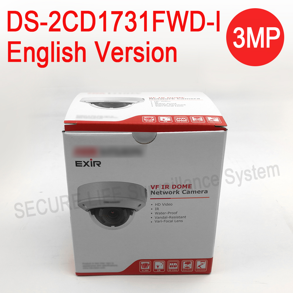 In stock English version DS-2CD1731FWD-I replace DS-2CD2735F-IS 3MP dome IP Camera POE,network cctv camera varifocal lens H.264+ multi language ds 2cd2735f is new high quality varifocal lense 3mp ir dome security network ip cameras w audio alarm support poe