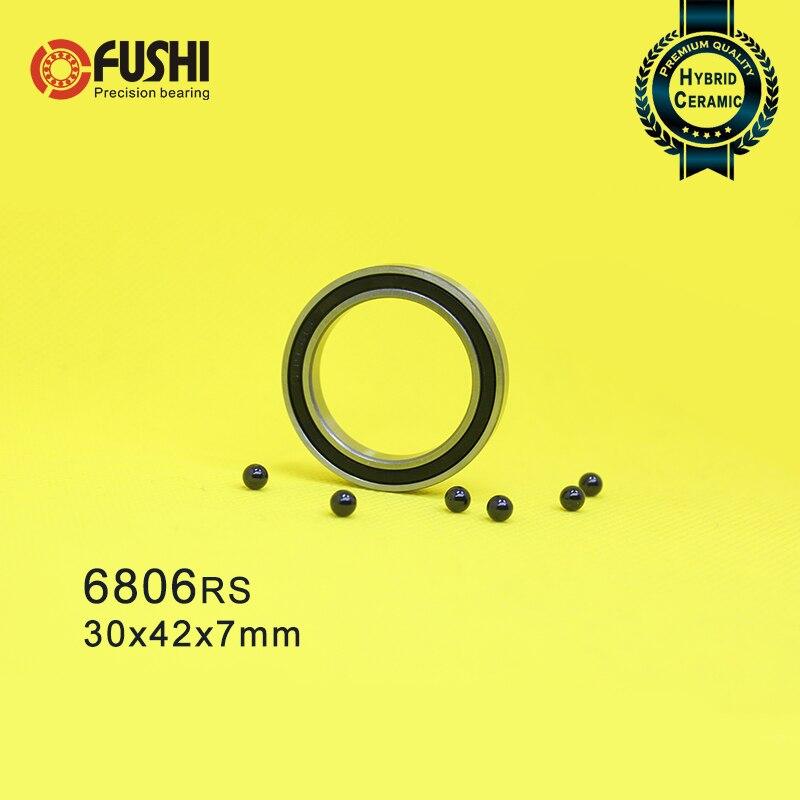 6806 cojinete híbrido de cerámica 30x42x7mm ABEC-1 (1 PC) bicicleta de fondo entre corchetes y punteros 6806RS Si3N4 rodamientos de bolas