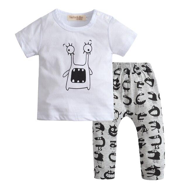 535eae3e3 Summer Newborn Baby Boy Clothes Little Monster Short Sleeve T shirt ...