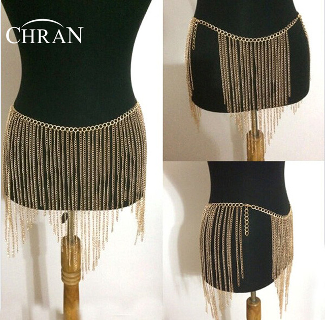 Chran New Fashion Sexy Tassel Belly Chain Waist Chain Bikini Silver Gold Plated Body Chain Jewelry Dress Gift For Women BC0401