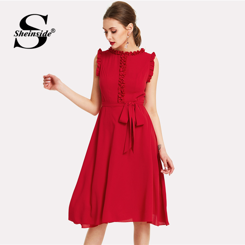 Sheinside Red Ruffle Dress Women Plain Sleeveless Self Belted High Waist Chiffon Dress 2018 Summer Vintage Elegant Midi Dress