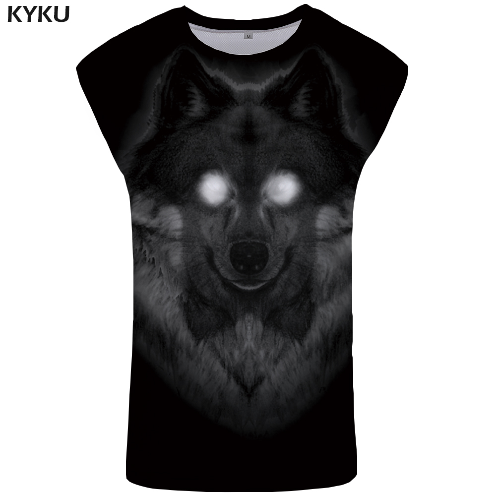 KYKU Wolf   Tank     Top   Men Vintage Undershirt Stringer Mens Black Bodybuilding Clothing Animal Singlet Ftness   Tops   Terror clothes
