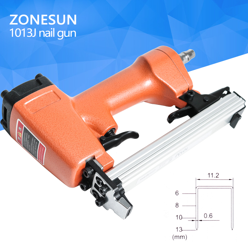 ZONESUN 1013 nail gun Pneumatic micro pinner nailer air brad headless pin gun Furniture Wood Sofa woodworking Air Stapler 11.2mm
