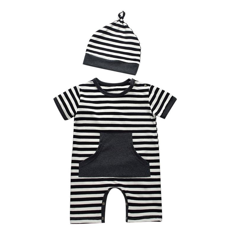 Zomer Zuigeling Jongen Katoen Rompertjes Casual Gestreepte Pasgeboren - Babykleding - Foto 2