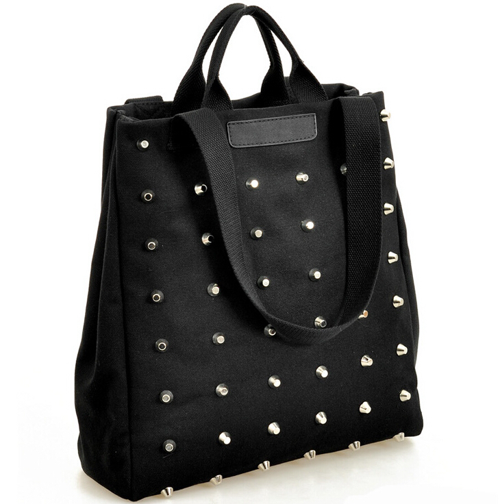 Aliexpress.com : Buy New Fashion Women Rivet canvas handbags ...