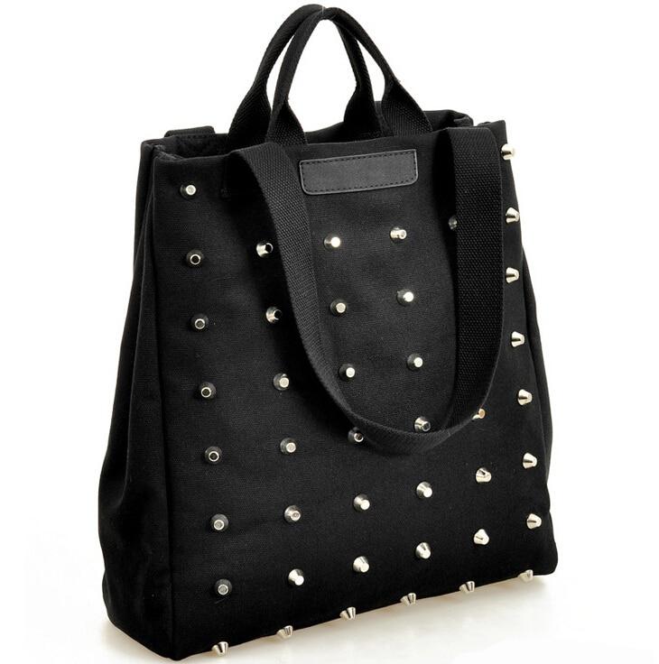Aliexpress.com : Buy New Fashion Women Rivet canvas handbags ...