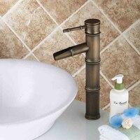Vintage Brass Bathroom Sink Faucet Bamboo Shape Antique Color