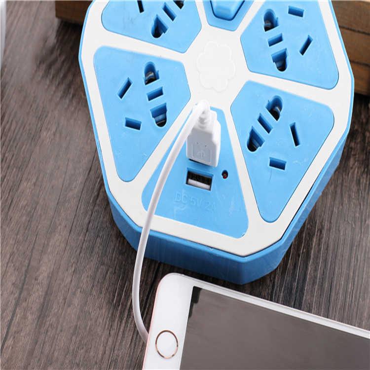 4 gniazda AC 2 USB moc wyjściowa taśmy okrągłe inteligentne gniazdo rozszerzeń 1.5M kabel USB Adapter zasilania