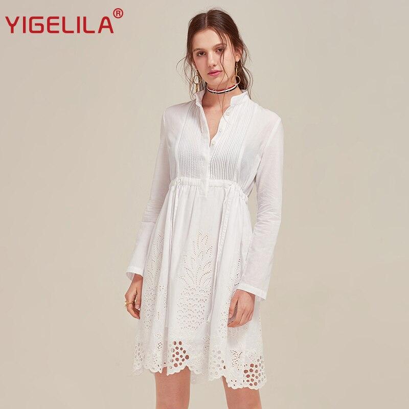 YIGELILA 2019 Latest New Women Dress Solid Stand Neck Full Sleeve Empire Slim Cotton White Shirt