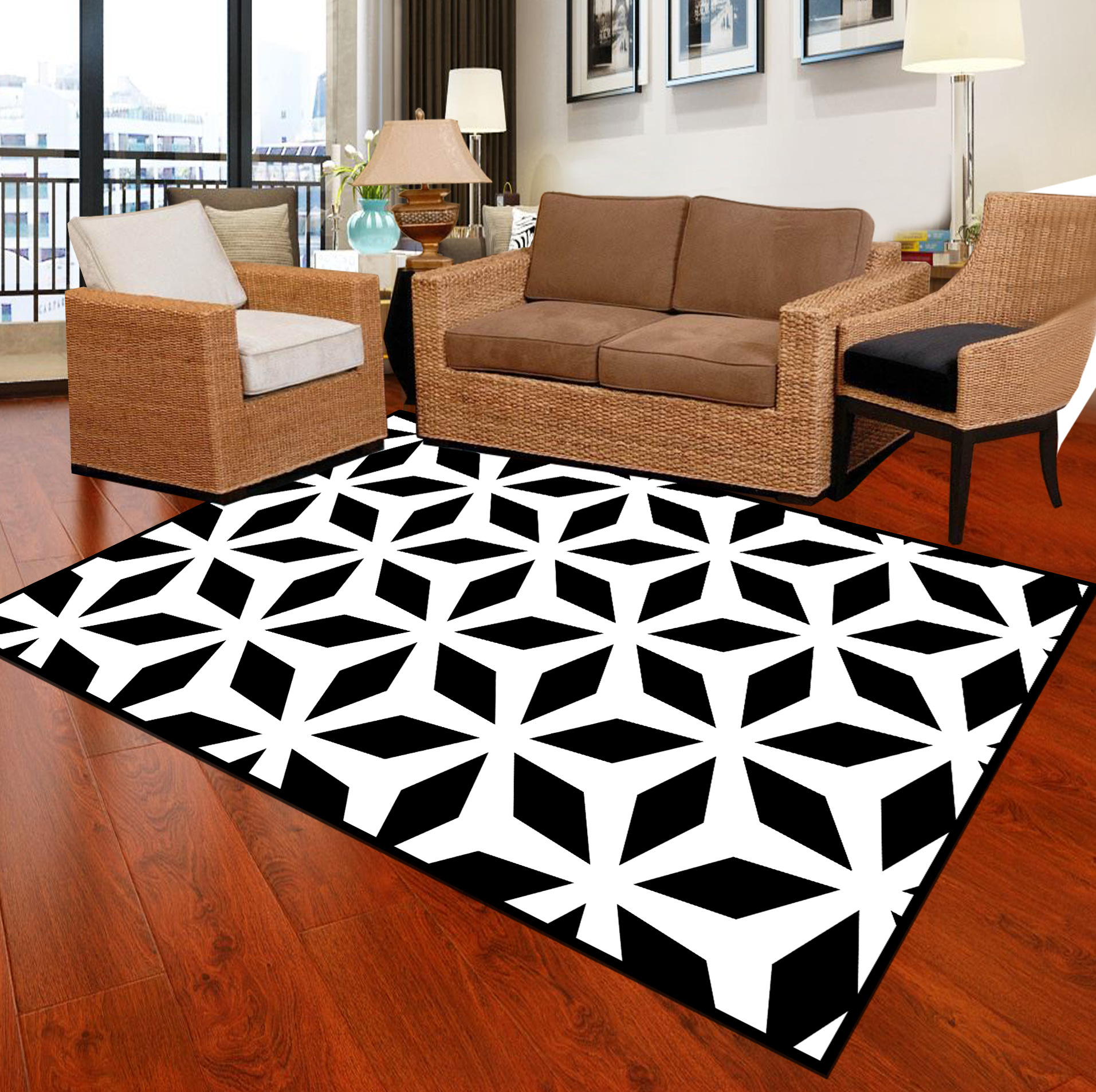 Zeegle Black White Carpets For Living Room Soft Carpets Kids Room Bedroom Carpets Bedside Rugs Anti-slip Office Chair Floor Mats