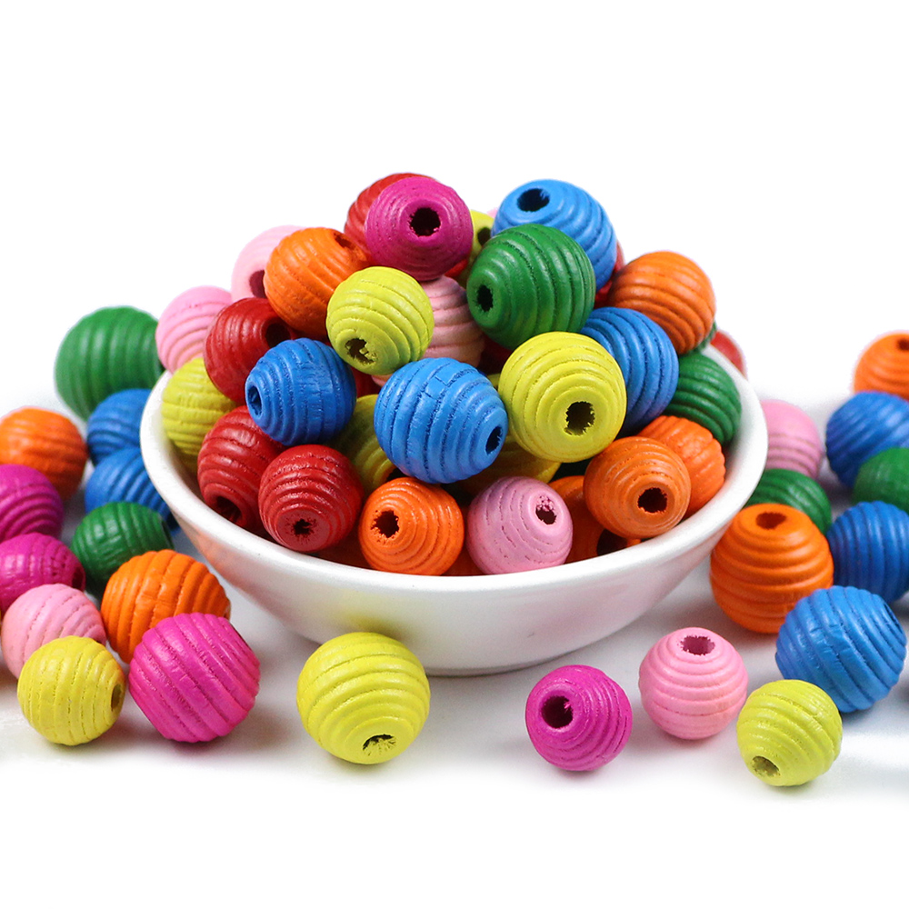 JHNBY DIY 30pcs Thread Wooden Beads For Jewelry Making Eco-Friendly Lead-Free Crafts Kids Toys 16/12mm Spacer Beading Loose Bead