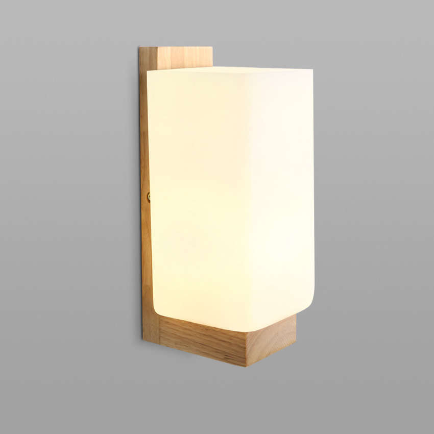 Modern Brief Oak Wood Wall Lamp white glass lampshade wall sconce for home lighting bathroom ...