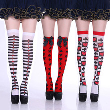Women's Poker Plum Flower Thigh High Stockings Plus Size Over The Knee Slim Socks