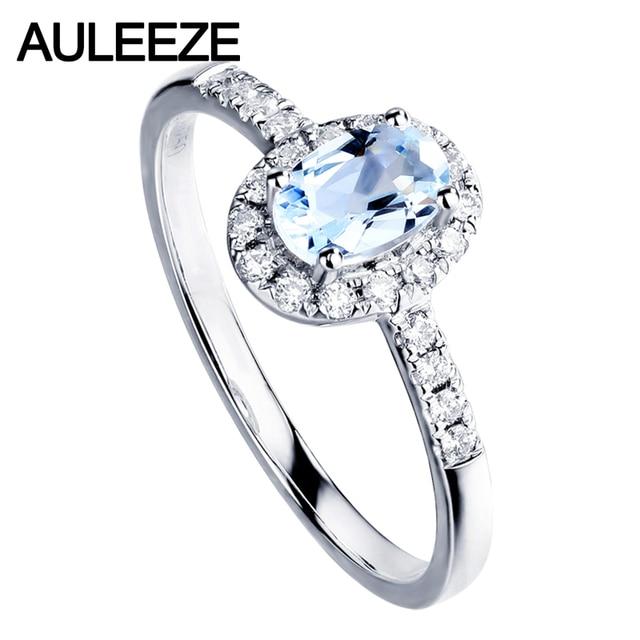 AULEEZE Classic Oval Shape 0.5CT Natural Aquamarine Wedding Ring Real Diamond 18K White Gold Annicersary Band Gemstone Jewelry