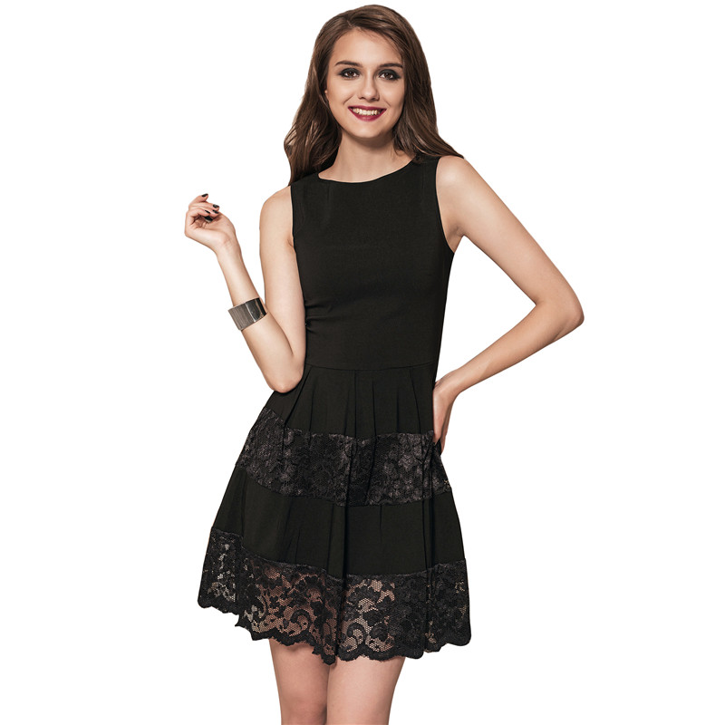 RS80447 Ohyeahlady Women Big Size Delicate Dress Sleeveless Solid About  Knee Office Dress Black Summer Casual Skater Lace Dress-in Dresses from  Women s ... e0752bf1e457