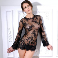 Sex Product Sexy Lingerie Through Long Sleeve Hot Skirt Summer Lace Silk Temptation Pajamas Transparent Women