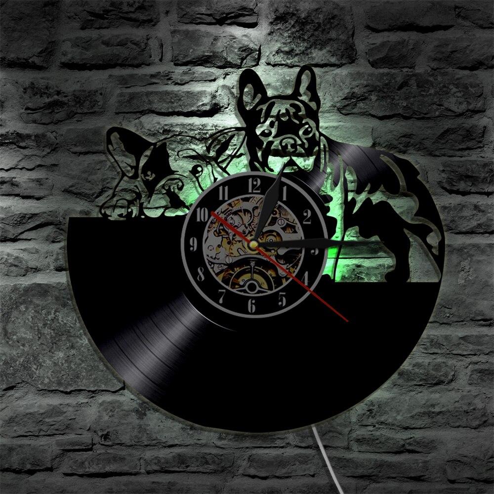 1 Stück Traurig Hunde Silhouette Schallplatte Wanduhr Französisch Bulldog LP Atmosphäre Lampe Led-beleuchtung Hintergrundbeleuchtung Geschenk Für Hund liebhaber