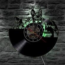 1 шт грустно Товары для собак силуэт Виниловая пластинка настенные часы Французский бульдог LP Атмосфера лампы Светодиодное освещение Подсветка подарок для любителей собак