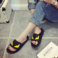 Women Black Little Monster Flip Flops Sandals Fashion China Brand Slippers Casual Summer Unisex Flats Beach Shoes Size 35-44